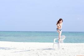 Ayumi Ishida 17 years old Morning Musume 14 Swimsuit with emerald green sea in the background060