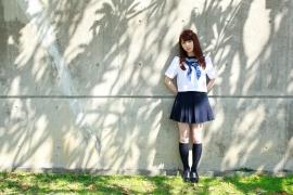 Ayumi Ishida 17 years old Morning Musume 14 Swimsuit with emerald green sea in the background073