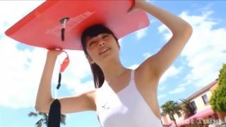 Misaki Komatsu Mizuno White swimsuit image020