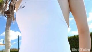 Misaki Komatsu Mizuno White swimsuit image055