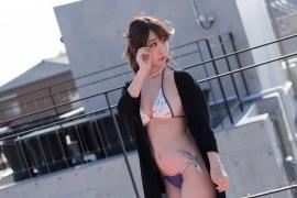 Iori Moe Swimwear Gravure Bikini Picture Rooftop Flowery Bikini006