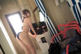 Iori Moe Swimwear Gravure Bikini Picture Rooftop Flowery Bikini034