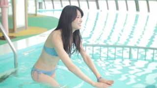 Maimi Yajima relaxing in the pool light blue bikini swimsuit picture007