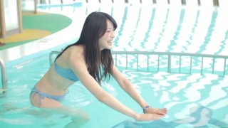 Maimi Yajima relaxing in the pool light blue bikini swimsuit picture008