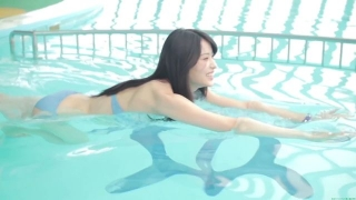 Maimi Yajima relaxing in the pool light blue bikini swimsuit picture009