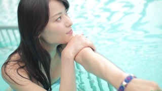 Maimi Yajima relaxing in the pool light blue bikini swimsuit picture018