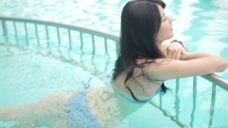 Maimi Yajima relaxing in the pool light blue bikini swimsuit picture033