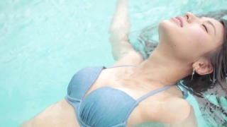 Maimi Yajima relaxing in the pool light blue bikini swimsuit picture039