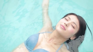 Maimi Yajima relaxing in the pool light blue bikini swimsuit picture044