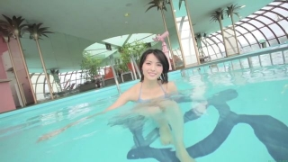 Maimi Yajima relaxing in the pool light blue bikini swimsuit picture064