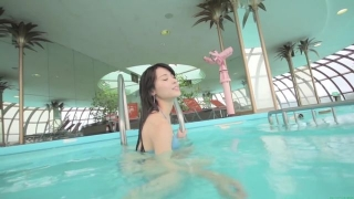 Maimi Yajima relaxing in the pool light blue bikini swimsuit picture066