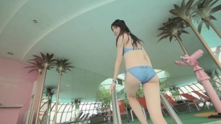 Maimi Yajima relaxing in the pool light blue bikini swimsuit picture080