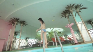 Maimi Yajima relaxing in the pool light blue bikini swimsuit picture083