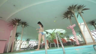 Maimi Yajima relaxing in the pool light blue bikini swimsuit picture084