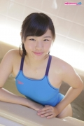 Suzuka Shishikura swimming suit images light blue bathroom016