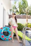 Hinako Tamaki Poolside Pink White Bikini002