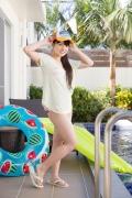 Hinako Tamaki Poolside Pink White Bikini004