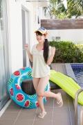 Hinako Tamaki Poolside Pink White Bikini005