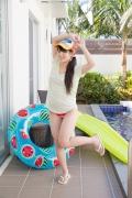 Hinako Tamaki Poolside Pink White Bikini006