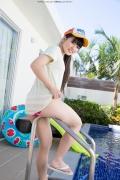 Hinako Tamaki Poolside Pink White Bikini012