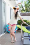 Hinako Tamaki Poolside Pink White Bikini015