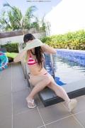 Hinako Tamaki Poolside Pink White Bikini028