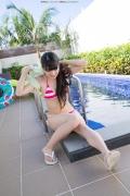 Hinako Tamaki Poolside Pink White Bikini029
