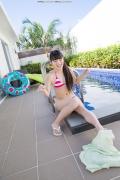 Hinako Tamaki Poolside Pink White Bikini032