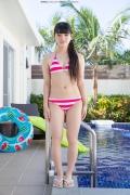 Hinako Tamaki Poolside Pink White Bikini038