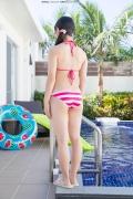 Hinako Tamaki Poolside Pink White Bikini041