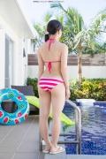 Hinako Tamaki Poolside Pink White Bikini043