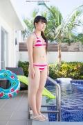 Hinako Tamaki Poolside Pink White Bikini045