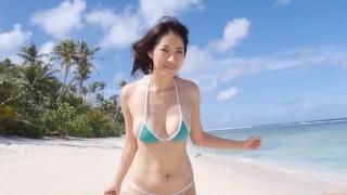 Yuka Someya swimsuit gravure Beach green bikini running fast051