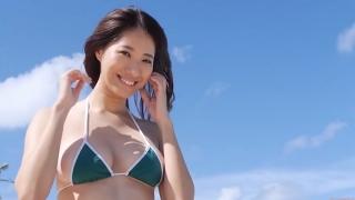 Yuka Someya swimsuit gravure Beach green bikini running fast099