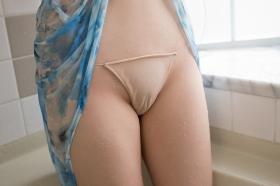 Chiaki Narumi Swimsuit Gravure Beige Bikini Bubble Bra006