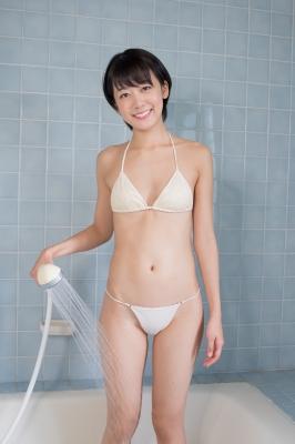 Koharu Nishino White Swimsuit String Bikini Shower Bathroom001
