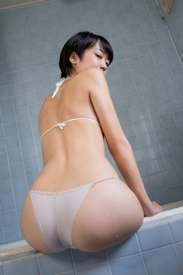 Koharu Nishino White Swimsuit String Bikini Shower Bathroom019