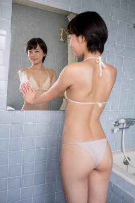 Koharu Nishino White Swimsuit String Bikini Shower Bathroom037