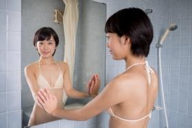Koharu Nishino White Swimsuit String Bikini Shower Bathroom036