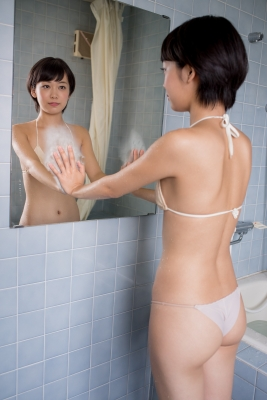 Koharu Nishino White Swimsuit String Bikini Shower Bathroom035