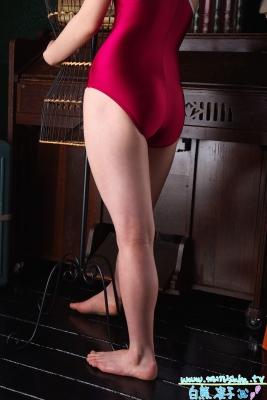 Ryoko Shirakuma Red School Swimsuit008