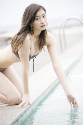Akari Uemura Swimsuit Gravure Hello Project Brown swimsuit Brown bikini Beach002