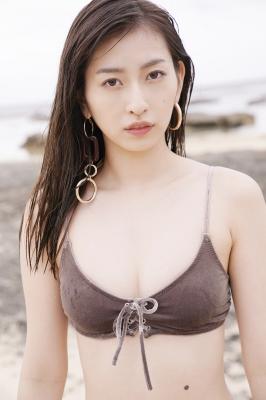 Akari Uemura Swimsuit Gravure Hello Project Brown swimsuit Brown bikini Beach014