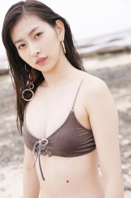 Akari Uemura Swimsuit Gravure Hello Project Brown swimsuit Brown bikini Beach015