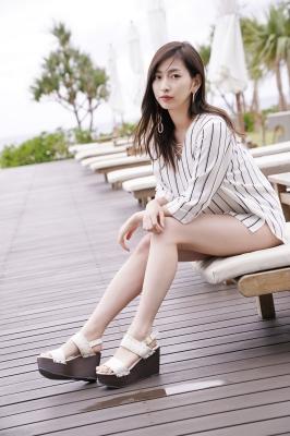 Akari Uemura Swimsuit Gravure Hello Project Brown swimsuit Brown bikini Beach024