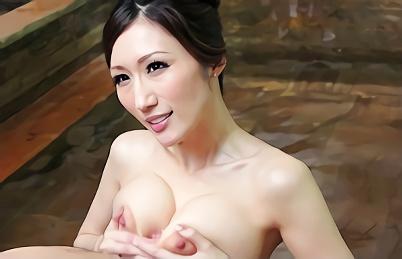 【JULIA】Jカップ爆乳スレンダーの激カワ人妻(女将)が働いている温泉旅館!露天風呂で男性客のチンポを丁寧にご奉仕する濃密セックス!!