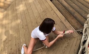 清水公園のアスレチックで羞恥な姿を晒すブルマ(体操着)コスプレをしたグラビアアイドルの緒方咲#15