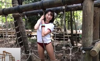 清水公園のアスレチックで羞恥な姿を晒すブルマ(体操着)コスプレをしたグラビアアイドルの緒方咲#9