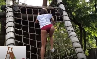 清水公園のアスレチックで羞恥な姿を晒すブルマ(体操着)コスプレをしたグラビアアイドルの緒方咲#3