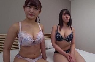 【無修正】神乳巨乳の美人シロウト二人組と3Pコスプレセックス